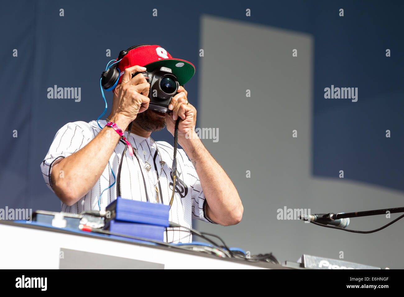 Liverpool, UK. 24th Aug, 2014. British electronic music artist and DJ, Goldie, played a set in front of thousands - Stock Image