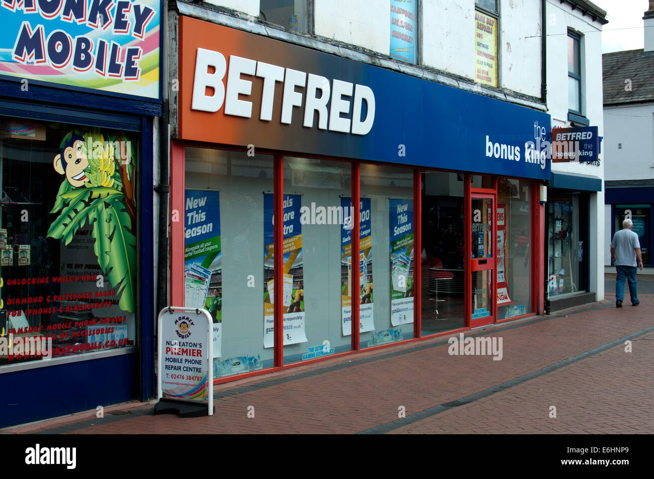 Betfred betting shop, Nuneaton, Warwickshire, England, UK - Stock Image