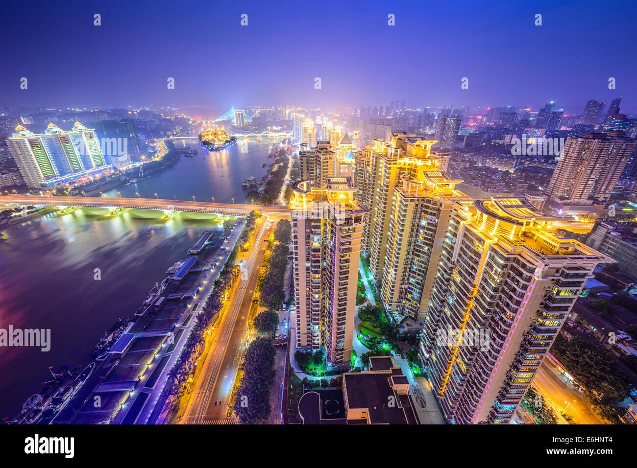 Fuzhou, Fujian, China cityscape on the Ming River. - Stock Image
