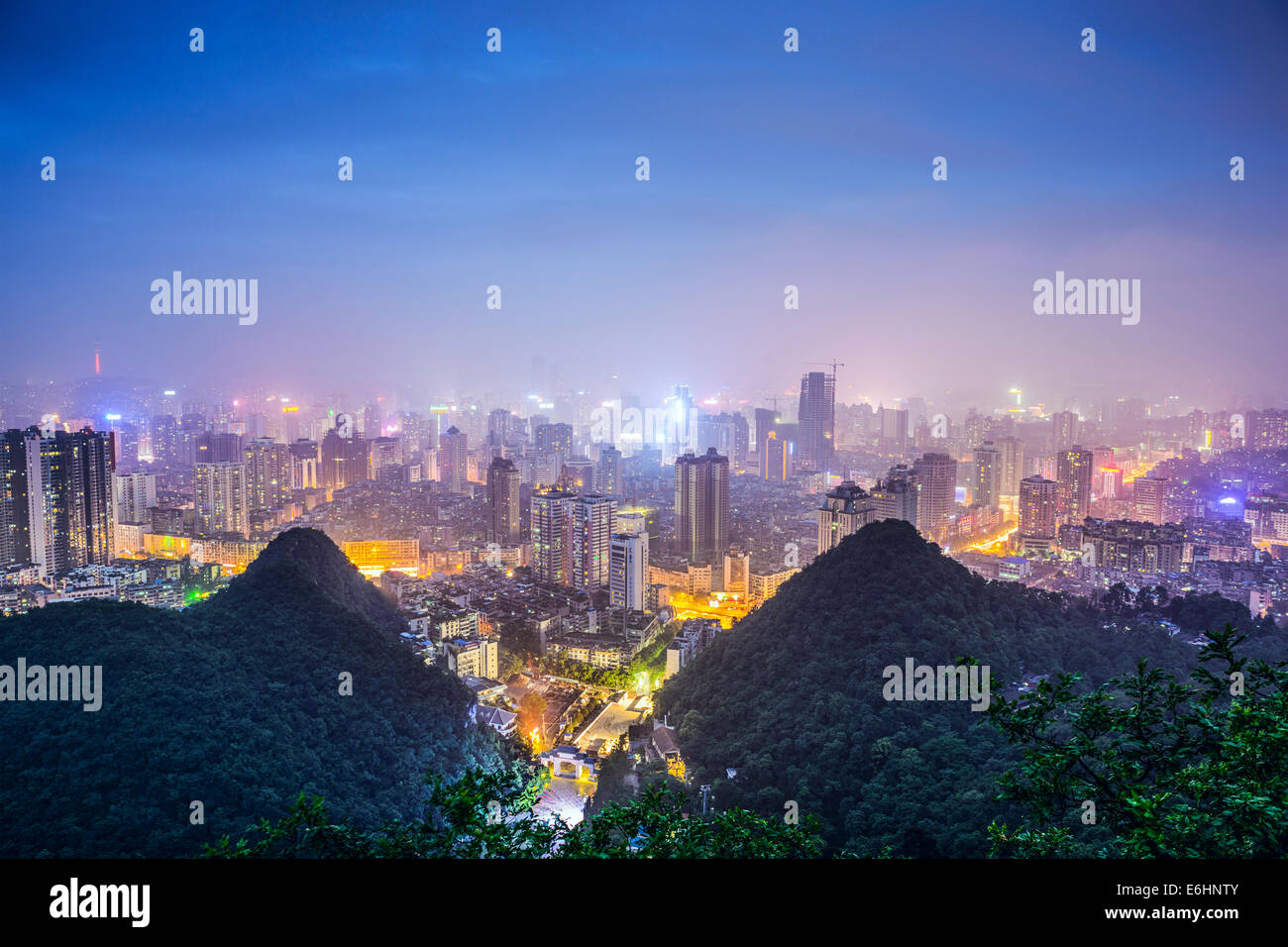Guiyang, China cityscape at night. - Stock Image