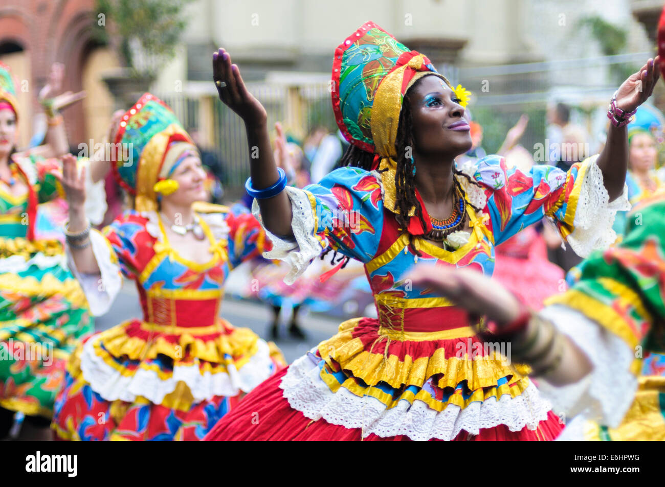 Notting Hill Carnival 2014, Children's day on Sunday. Members of group dance Maracatudo Mafua - Stock Image