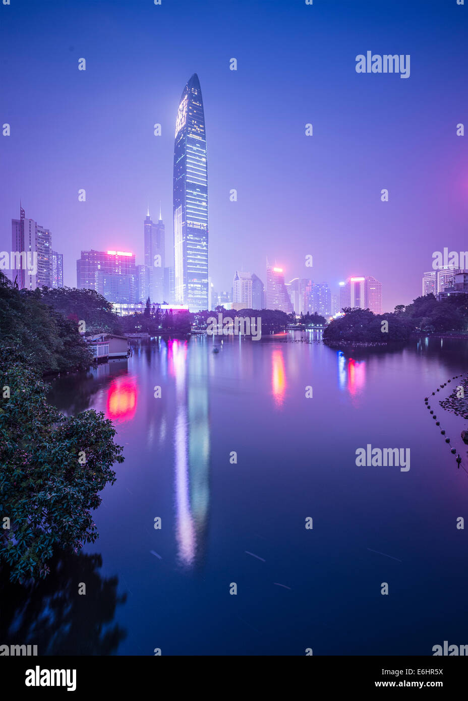 Shenzhen, China city skyline at twilight. - Stock Image