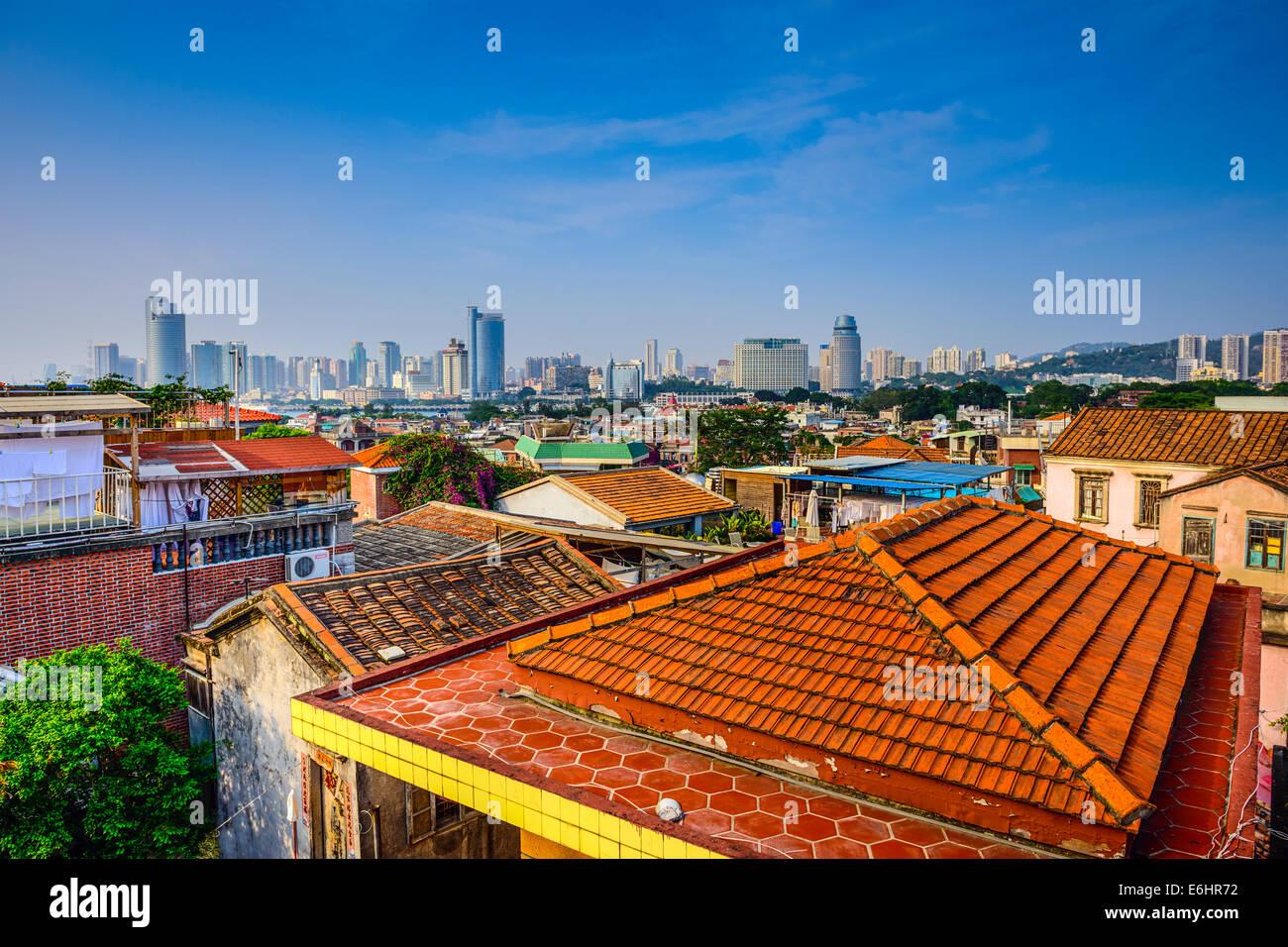 Xiamen, China cityscape from Gulangyu Island. - Stock Image