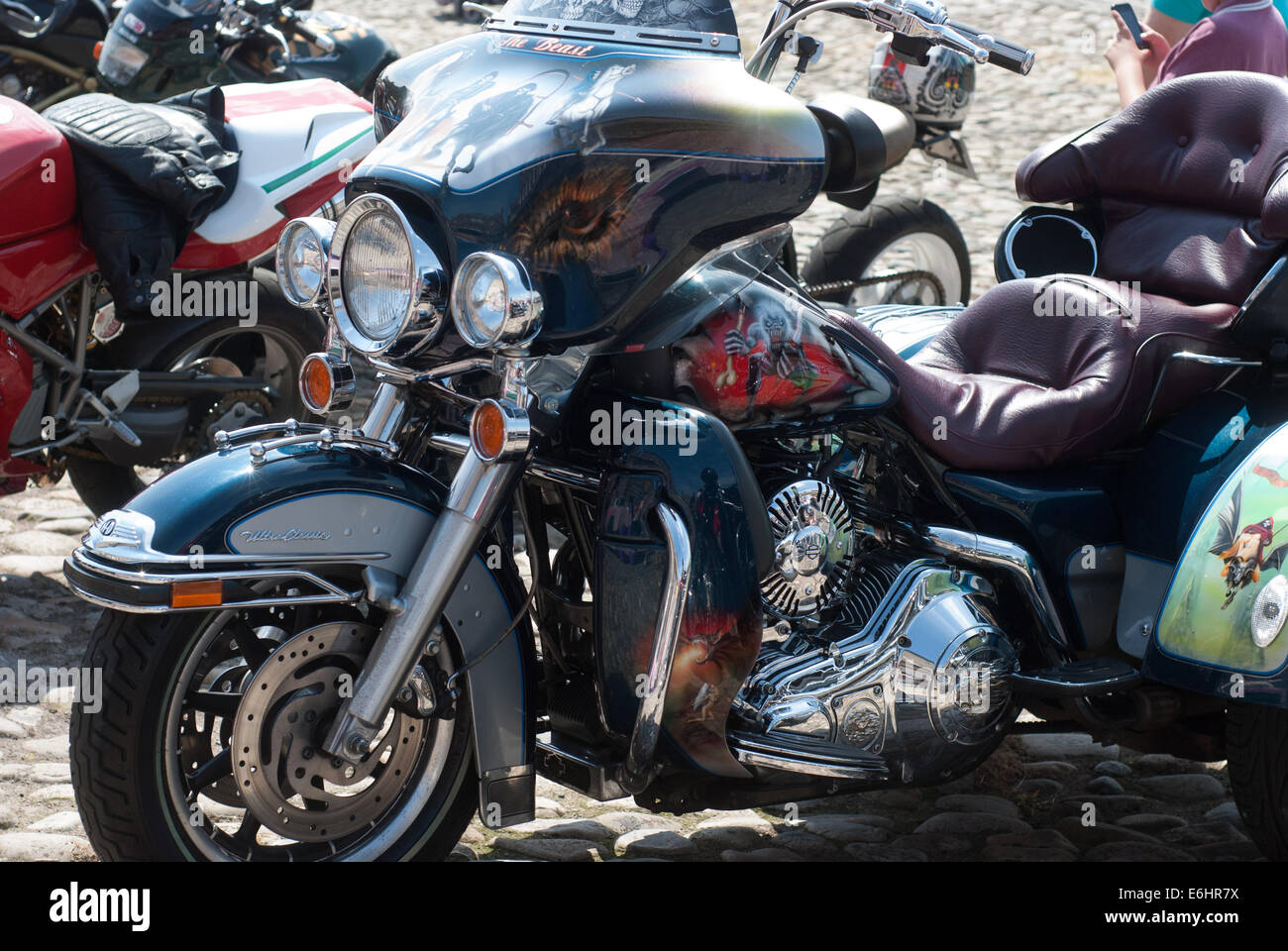 Harley Davidson motorcycle at a show in Berwick upon Tweed, Northumberland UK - Stock Image