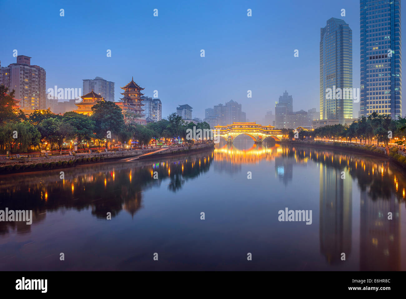 Chengdu, Sichuan, China at Anshun Bridge. - Stock Image