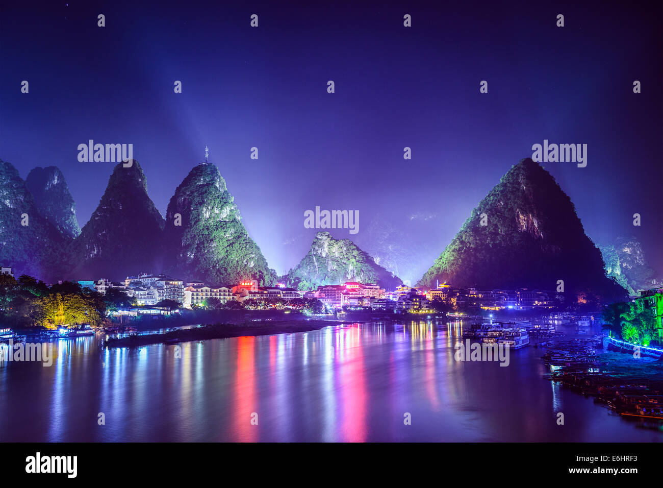 Yangshuo, China cityscape and karst mountains on the Li River. - Stock Image