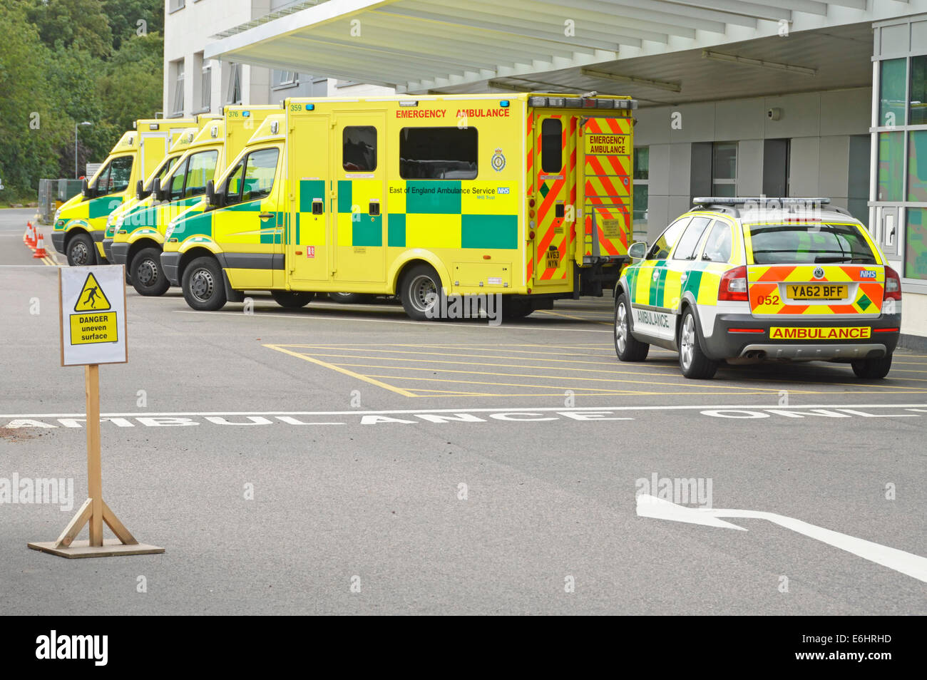 Ambulances parked outside Broomfield Hospital Accident and Emergency department - Stock Image