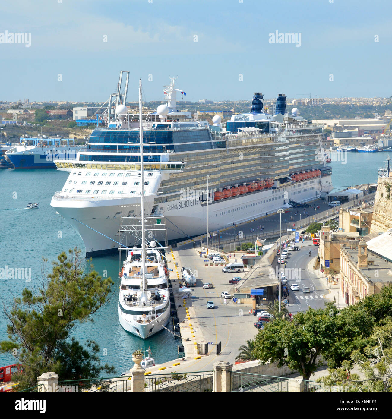 Large modern cruise ship Celebrity Silhouette moored in her home port in the Grand Harbour at Valletta - Stock Image