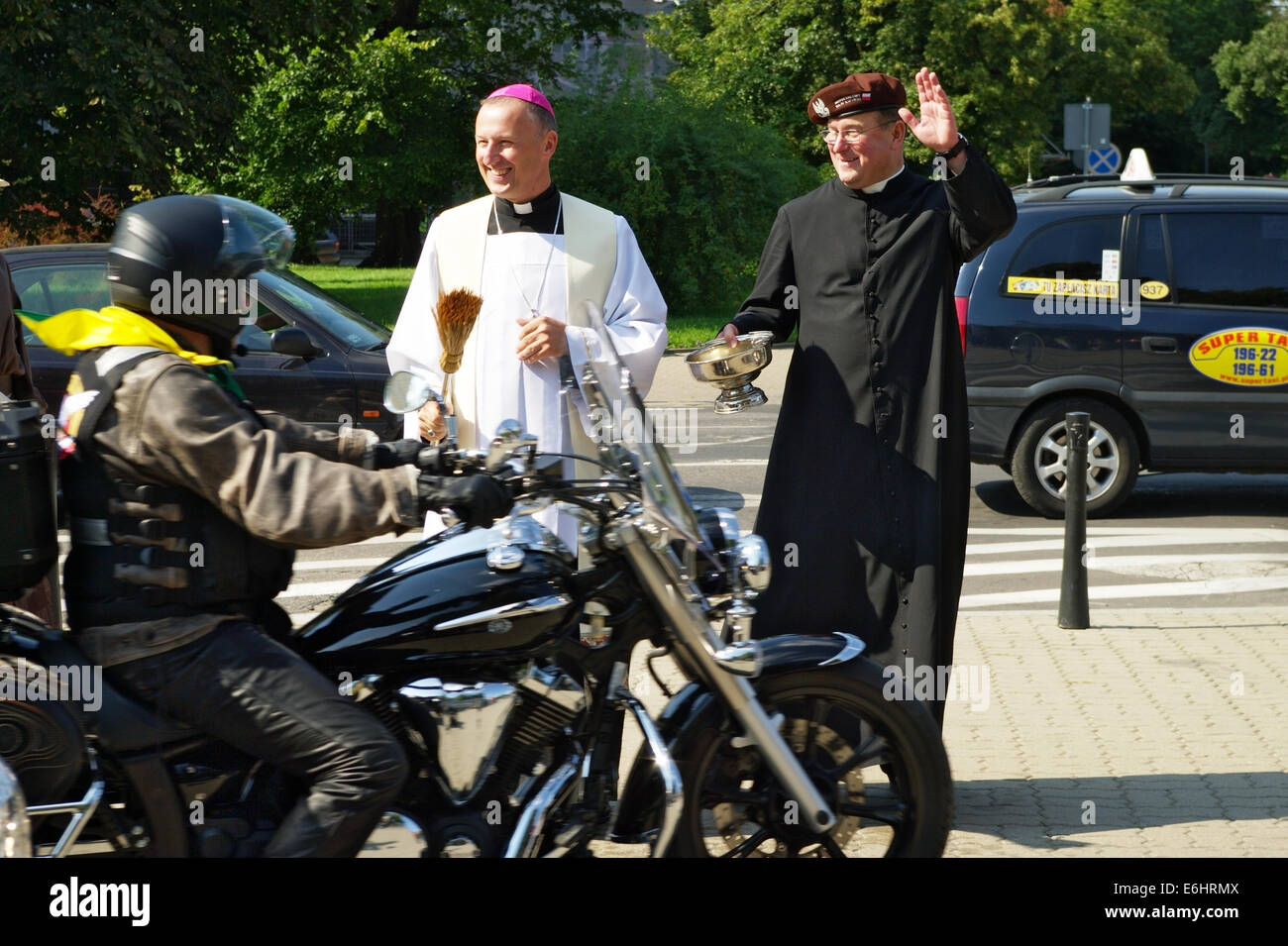 Marek Solarczyk, auxiliary Bishop of Warsaw-Praga diocese, blesses participants of the 14th International Motorcycle - Stock Image