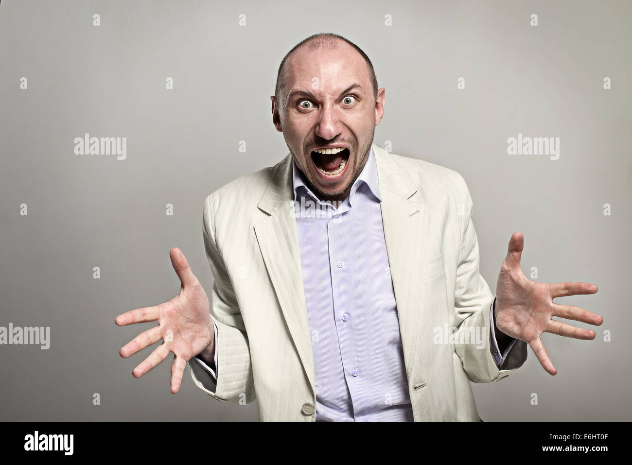 Angry boss shout loudly - Stock Image
