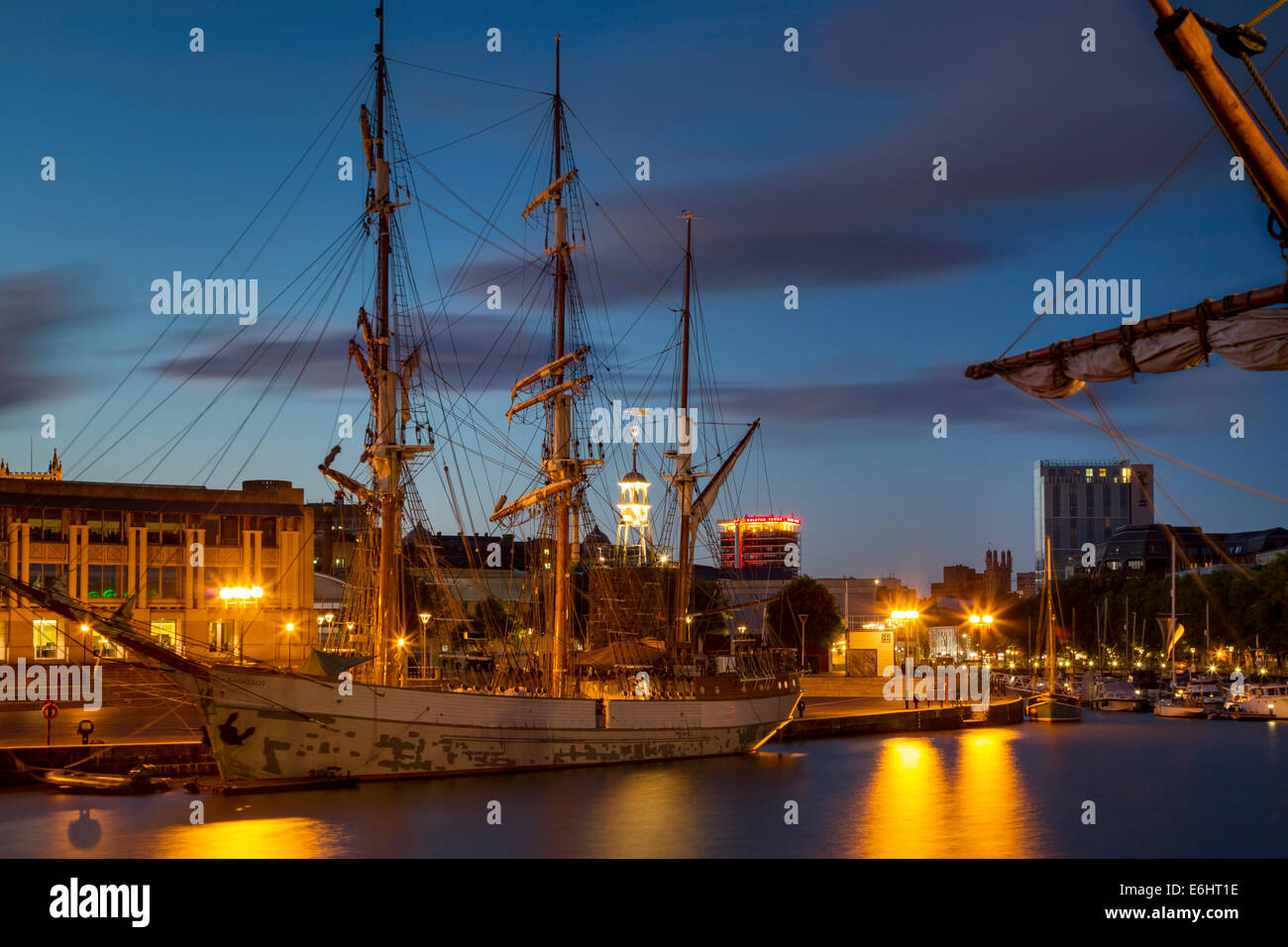 Three masted SS Kaskelot docked in the historic town of Bristol, England Stock Photo