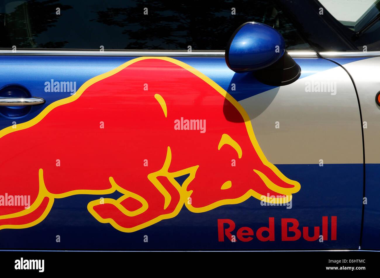 A Red Bull Mini - Stock Image