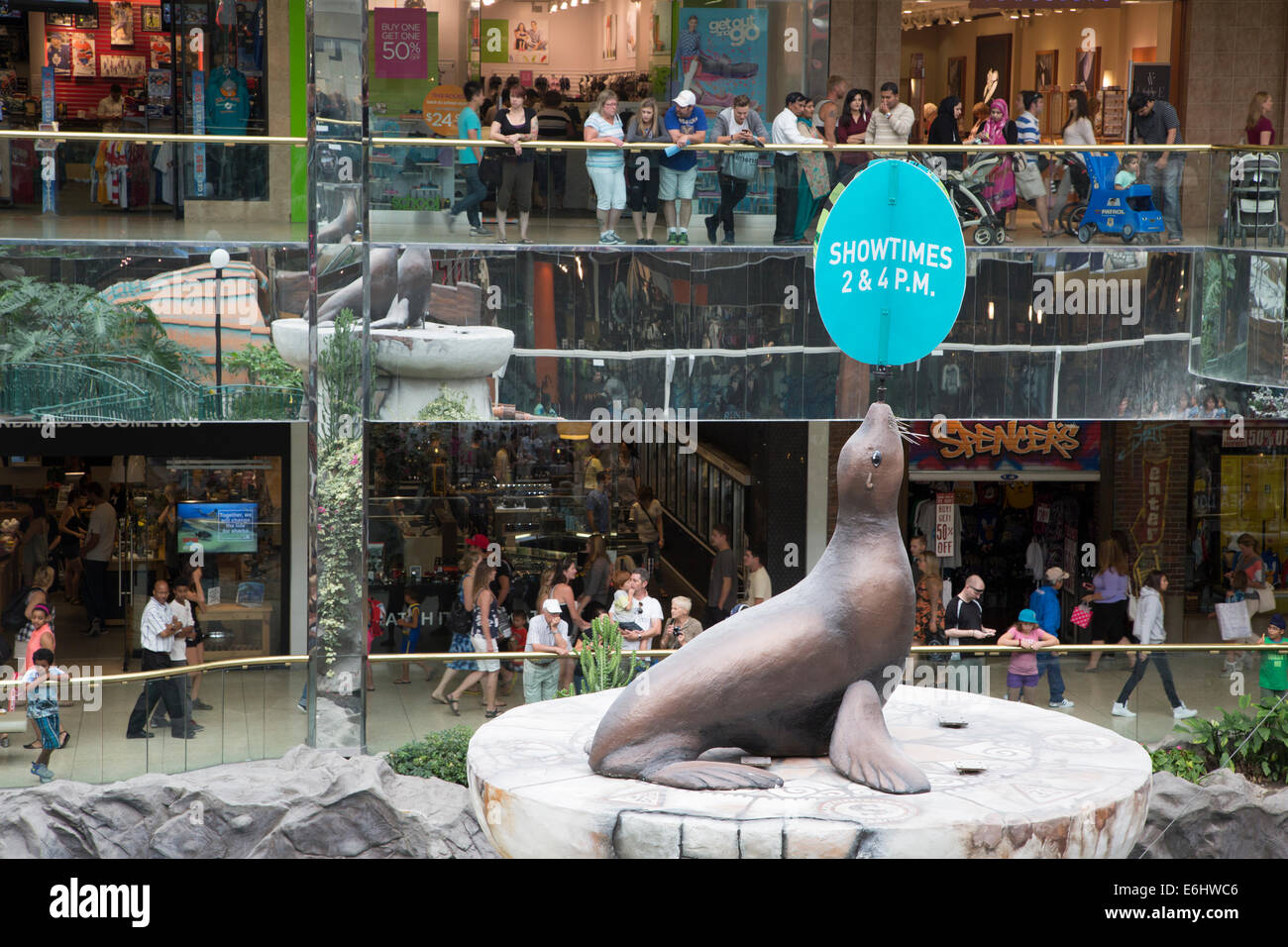 West Edmonton mall with advertisement for marine life shows - Stock Image