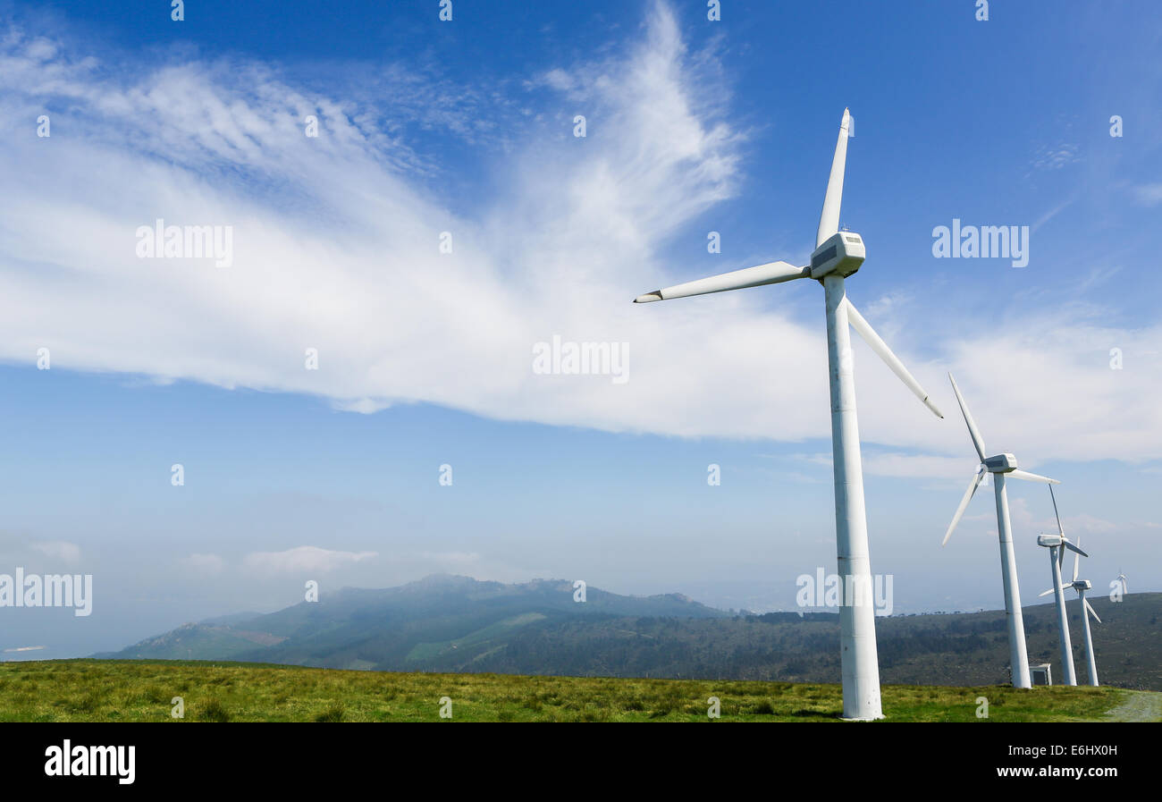 Onshore wind farm in the Northern part of Galicia, Spain. - Stock Image