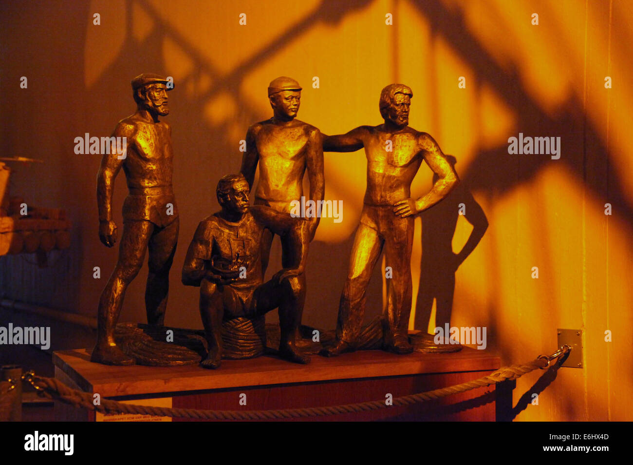 Bronze Sculpture of Thor Heyerdahl and his Crew at the Kon-Tiki Museum in Oslo - Stock Image