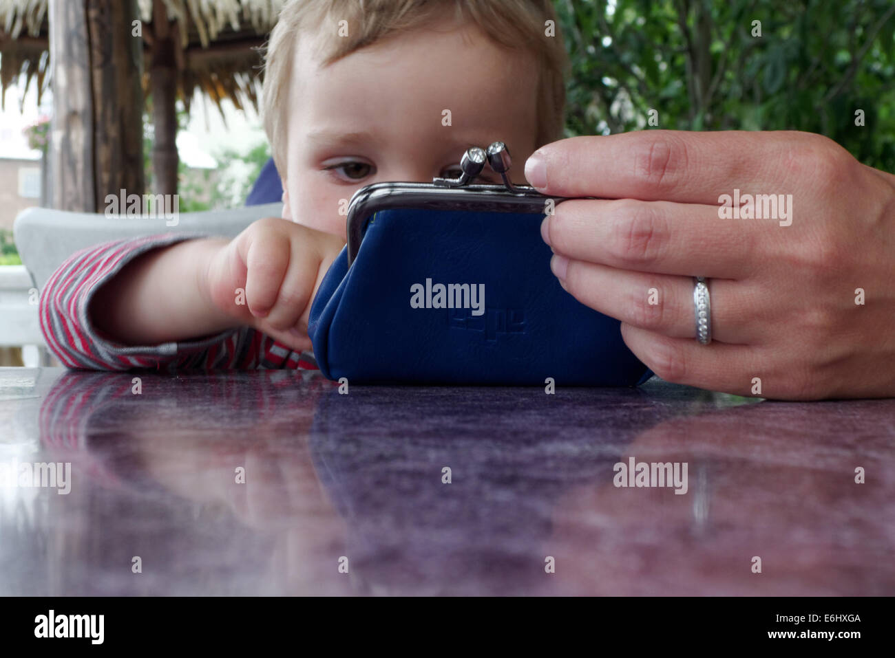 A two year old boy looking at a purse being held by the mother's hand - Stock Image