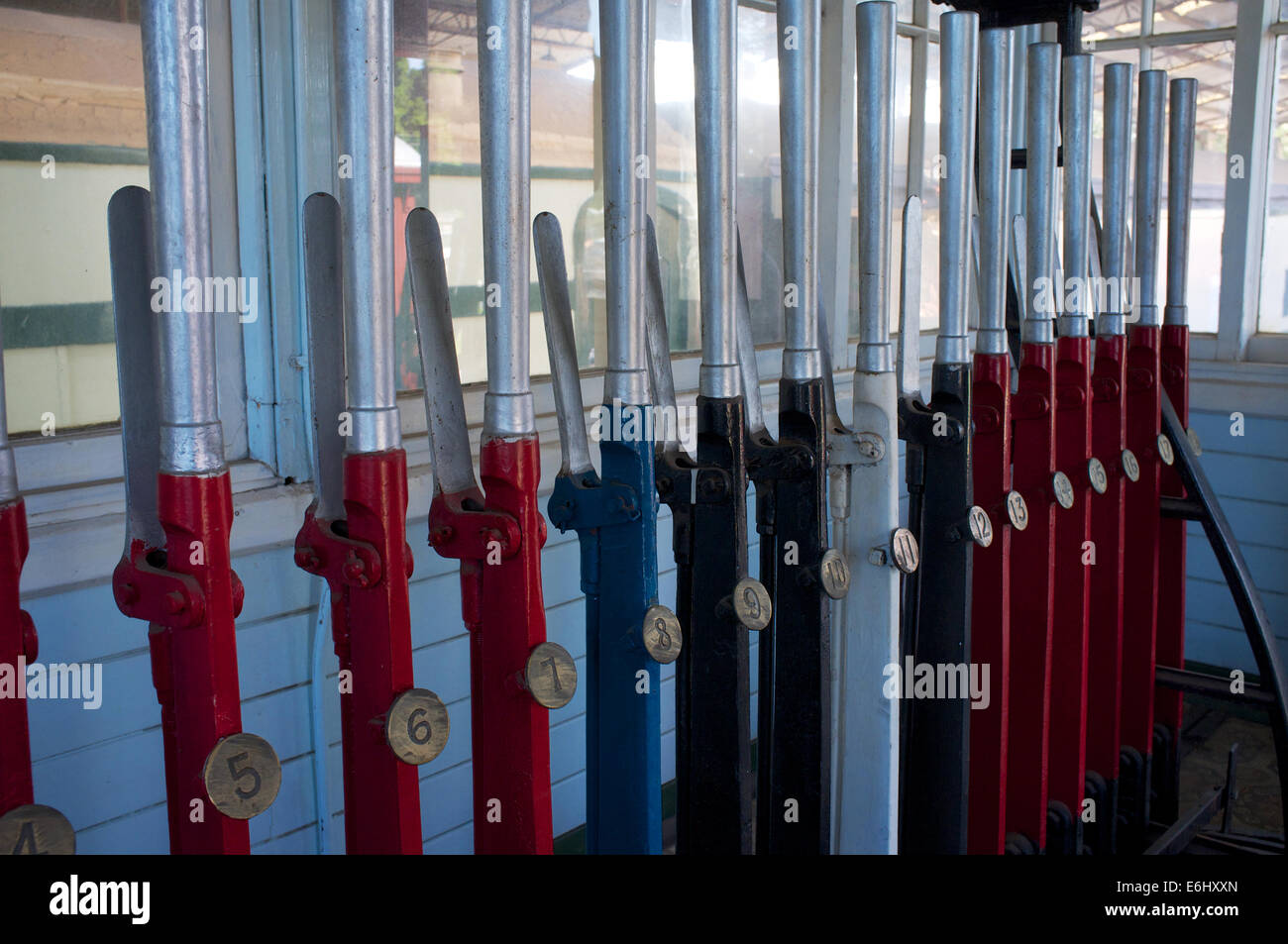 Old signal box points levers at the Bassendean Railway Museum in Western Australia. - Stock Image