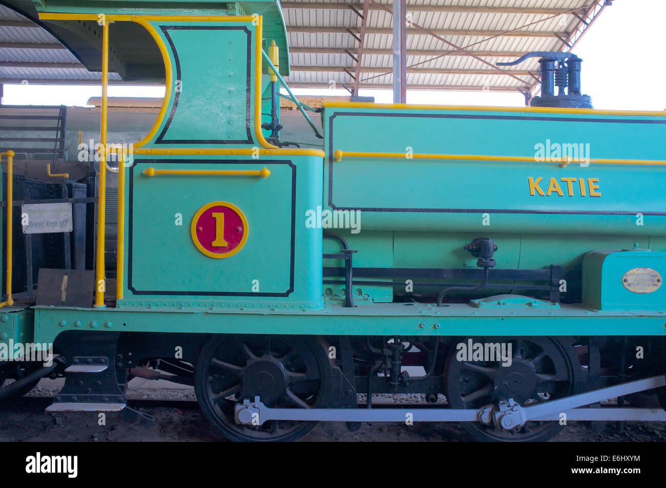 Katie a 3' 6' gauge 0-6-0ST + T steam locomotive built in 1880 preserved at the Railway Museum, Bassendean, - Stock Image