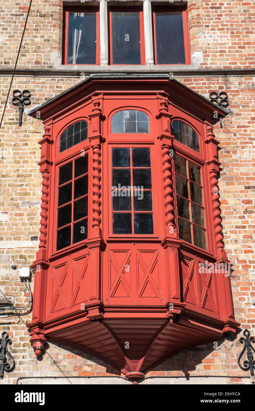 Ornate window box in the Hanseatic merchants' quarter of Bruges, Belgium - Stock Image