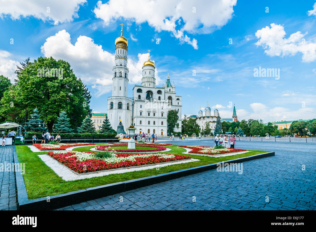 Moscow Kremlin Tour - 65. Ivanovskaya square of the Kremlin. This is the largest Kremlin square - Stock Image
