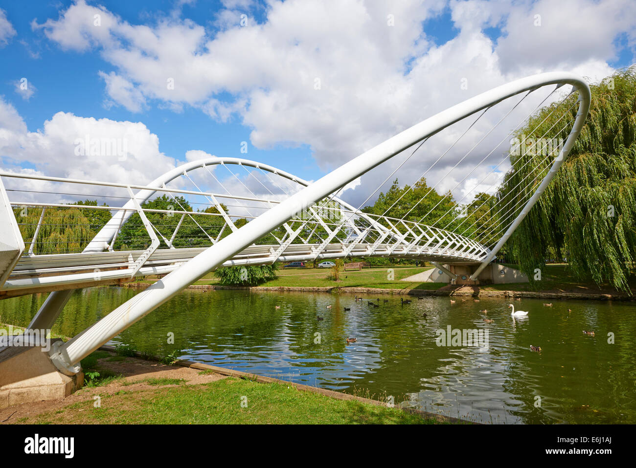 Butterfly Bridge Over The River Great Ouse The Embankment Bedford Bedfordshire UK - Stock Image