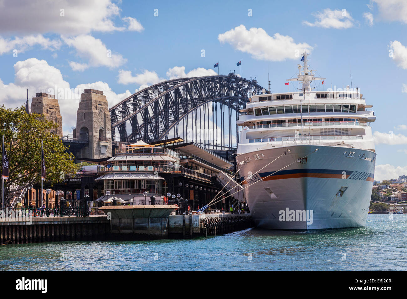Cruise liner Europa, a ship of the German Hapag-Lloyd company, moored at Circular Quay, Sydney. - Stock Image