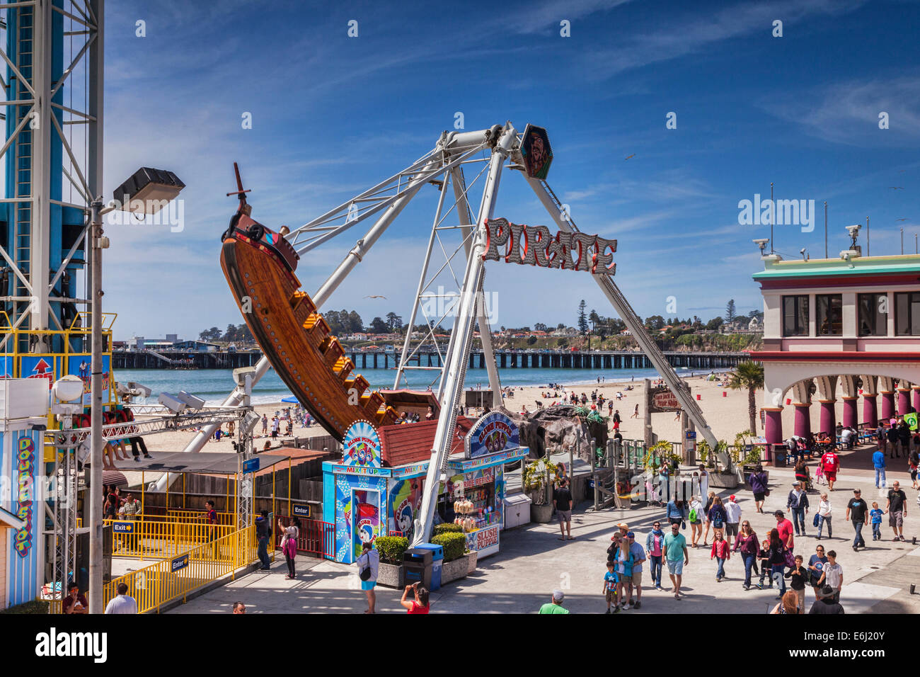 Pirate Ship at Santa Cruz Boardwalk, California, USA. - Stock Image