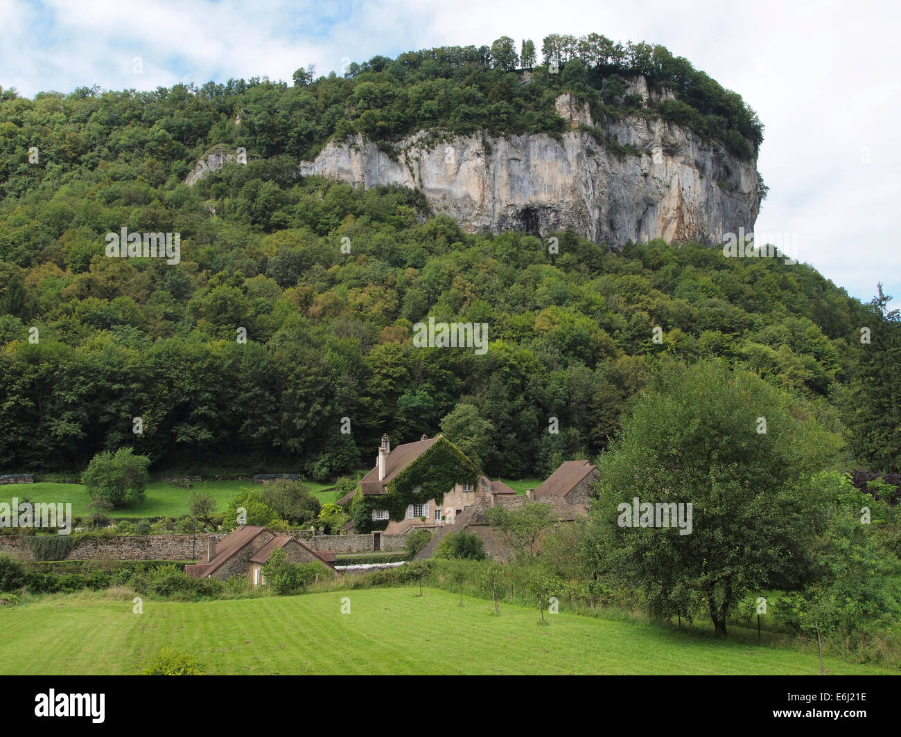 Baume les Messieurs is considered one of the most beautiful villages in France. Jura region Stock Photo