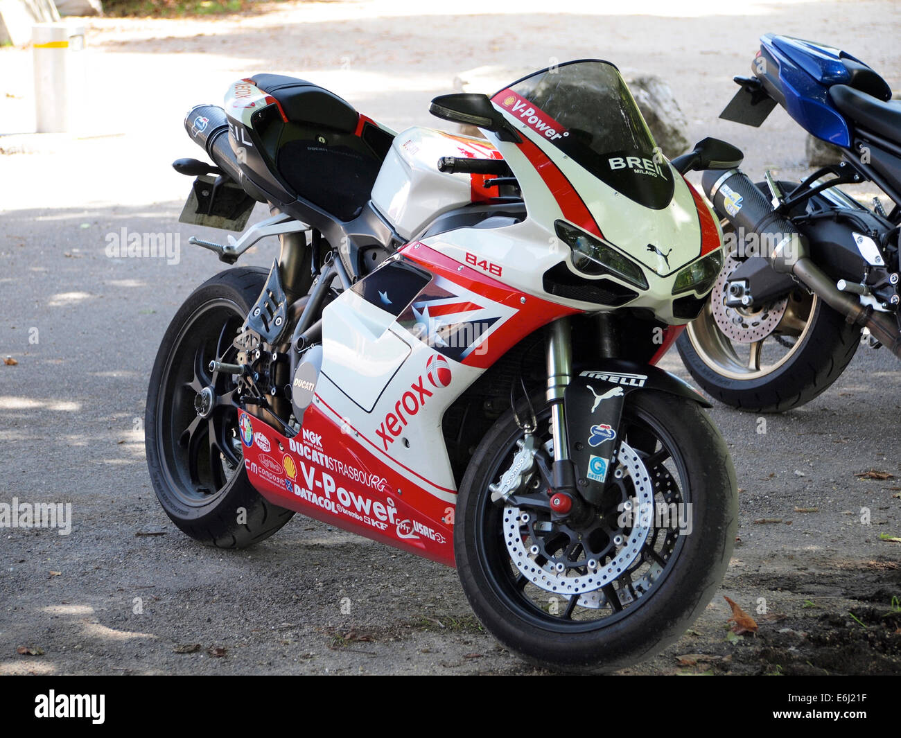 Ducati 848 sports motorcycle parked - Stock Image