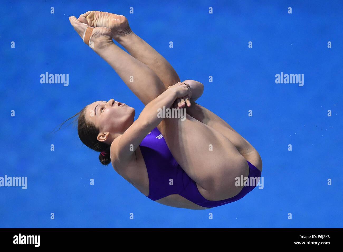 Berlin, Germany. 24th Aug, 2014. Viktoriya Kesar of Ukraine competes at the women's diving 3m springboard final - Stock Image