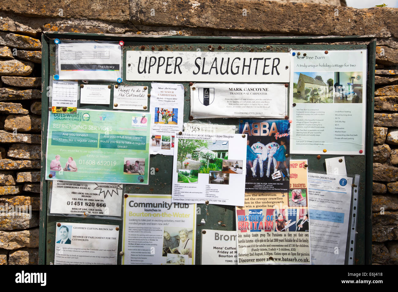 A village notice board in Upper Slaughter, The Cotswolds, England, U.K. - Stock Image