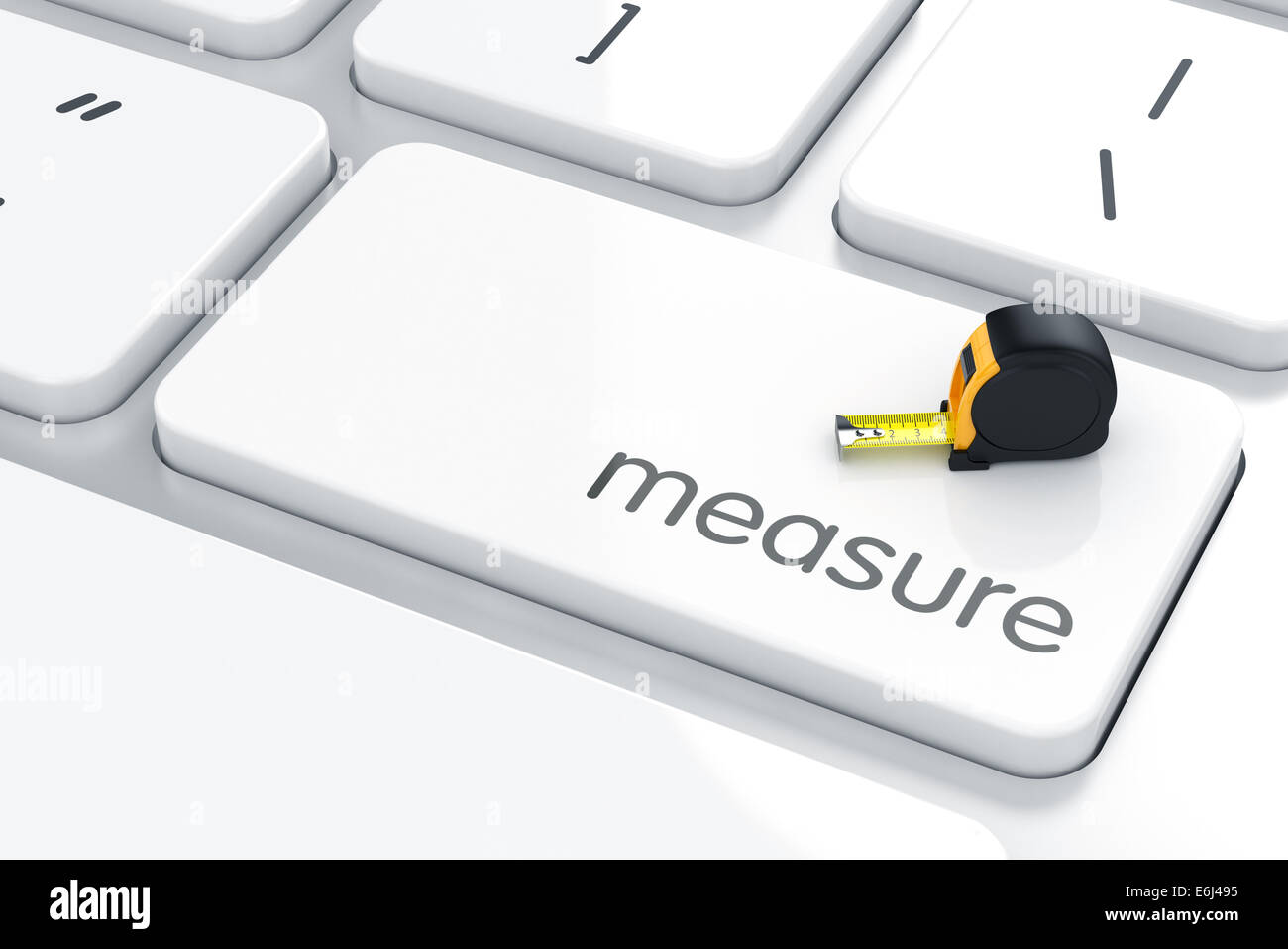3d render of measure ruler on the keyboard. Measure concept - Stock Image