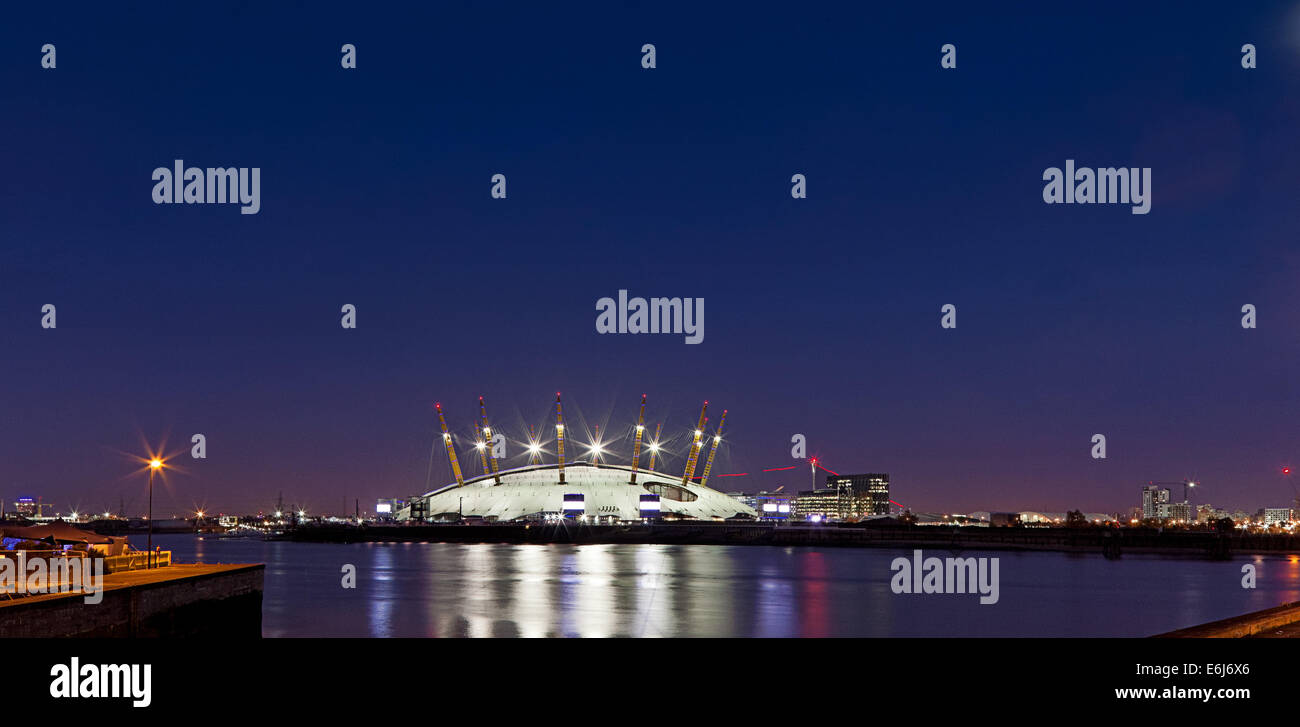 O2 Dome in London Docklands at night - Stock Image