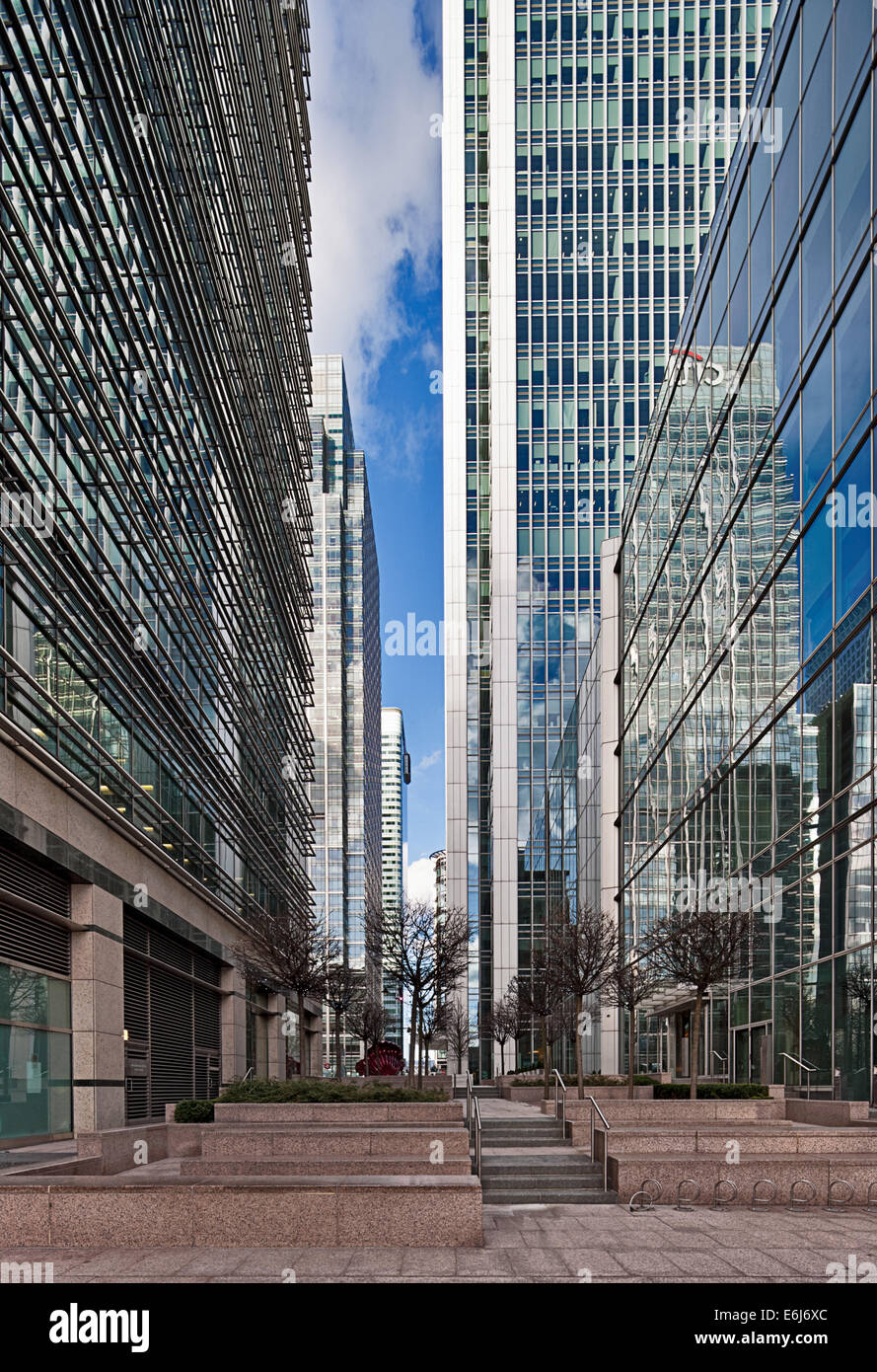 Streetscape in  Canary Wharf, Docklands. - Stock Image