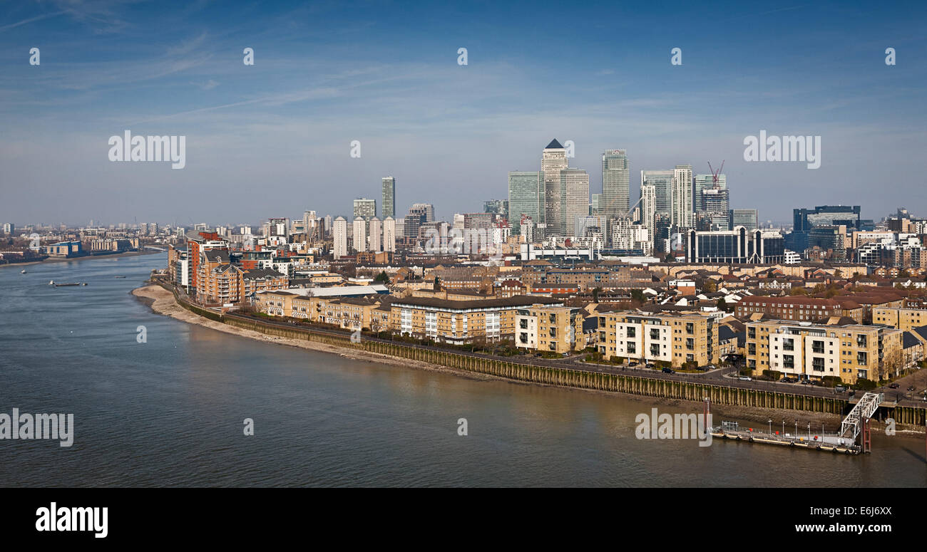 High level view of Canary Wharf and the Isle of Dogs. - Stock Image