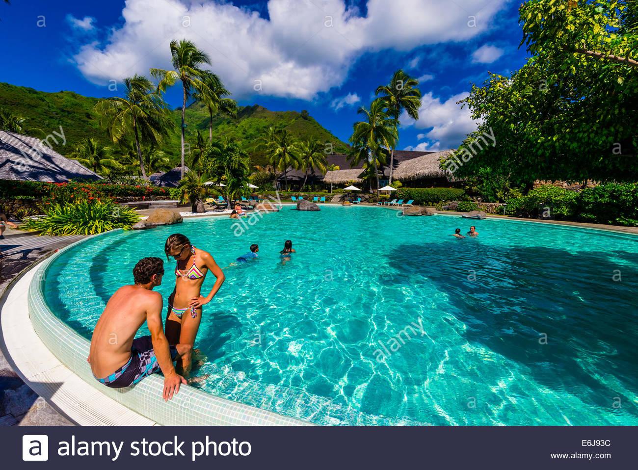 Swimming pool, Hilton Moorea Lagoon Resort, island of Moorea, French ...