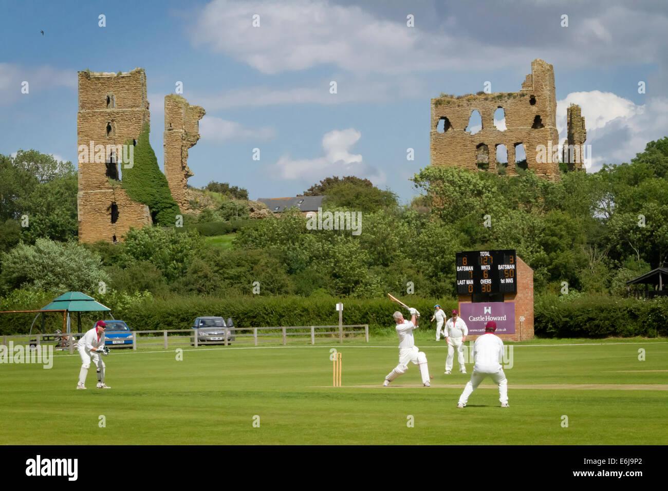 North Yorkshire village cricket match at Sheriff Hutton England - Stock Image