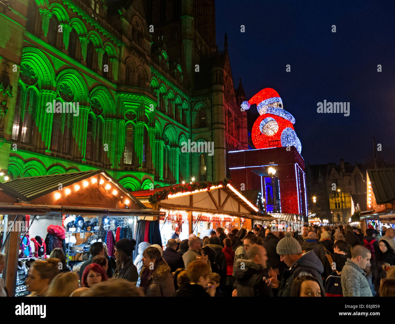 December Christmas Market in Manchester UK at night Stock Photo