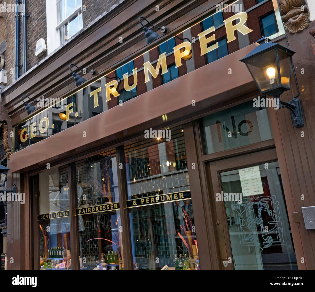 Geo. F. Trumper Gentleman's barbers and perfumers shop, Duke of York St, Mayfair, London, England UK Stock Photo