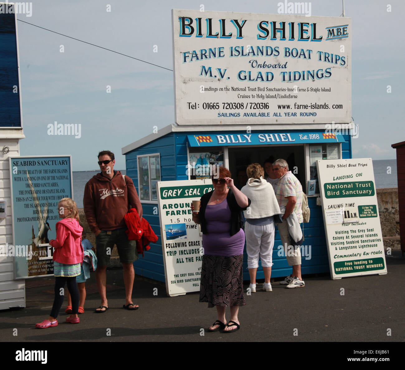 Billy Shiel boat Tickets being sold from sheds at Seahouses, for Farne Island trips, NE England, UK - Stock Image