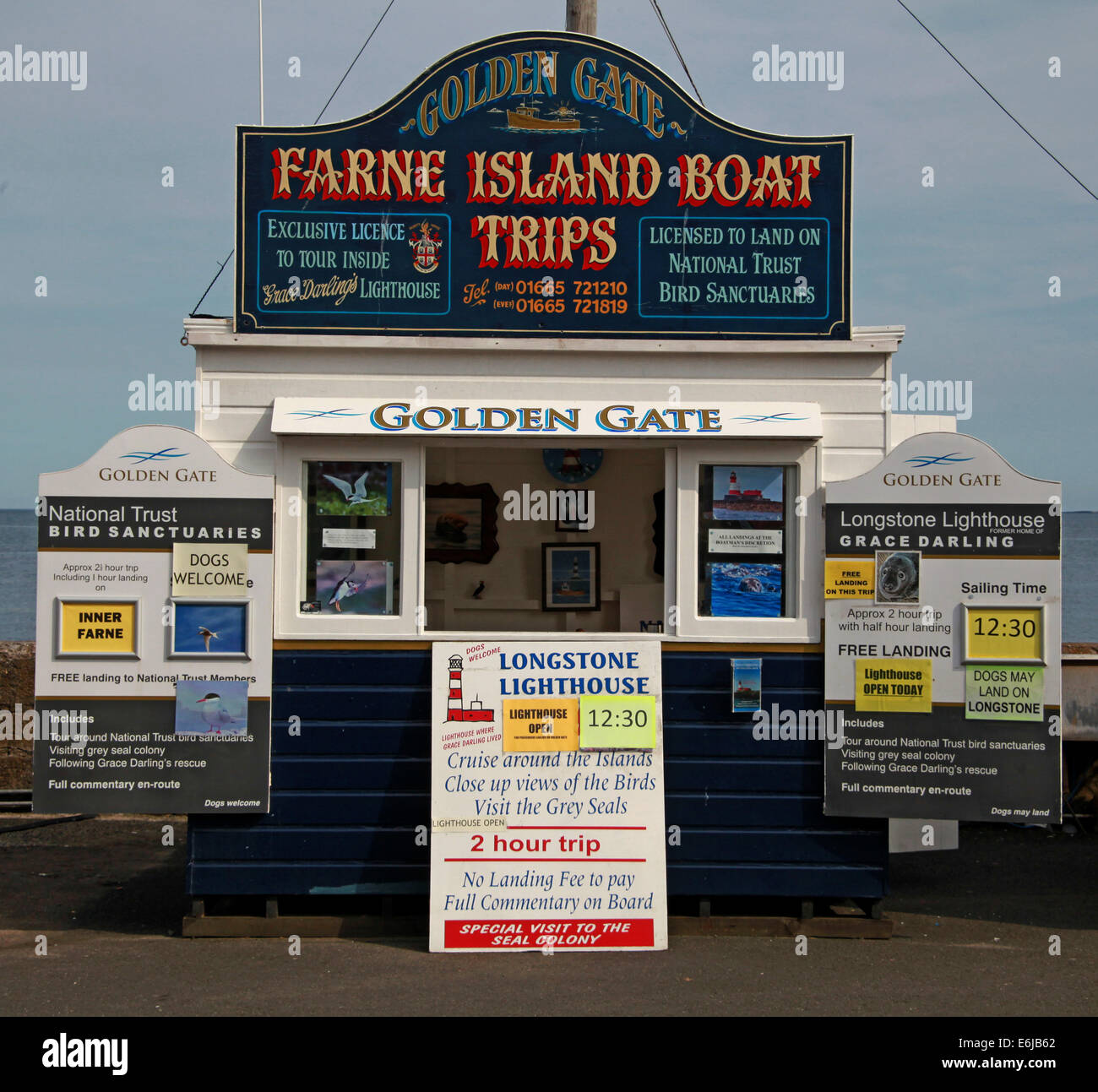 Tickets being sold from Golden Gate Boat sheds at Seahouses, for Farne Island trips, NE England, UK - Stock Image