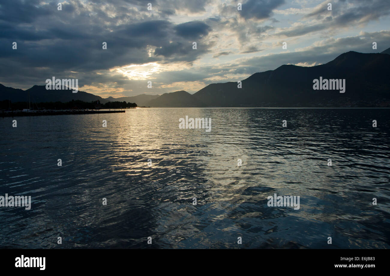 Lake Iseo or Lago d'Iseo or Sebino in Lombardy region. Northern Italy. - Stock Image