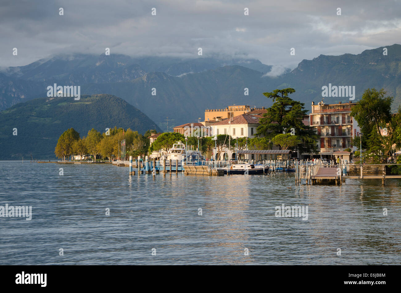 Lake Iseo or Lago d'Iseo or Sebino with the quai of Iseo, Lombardy region. Northern Italy. - Stock Image