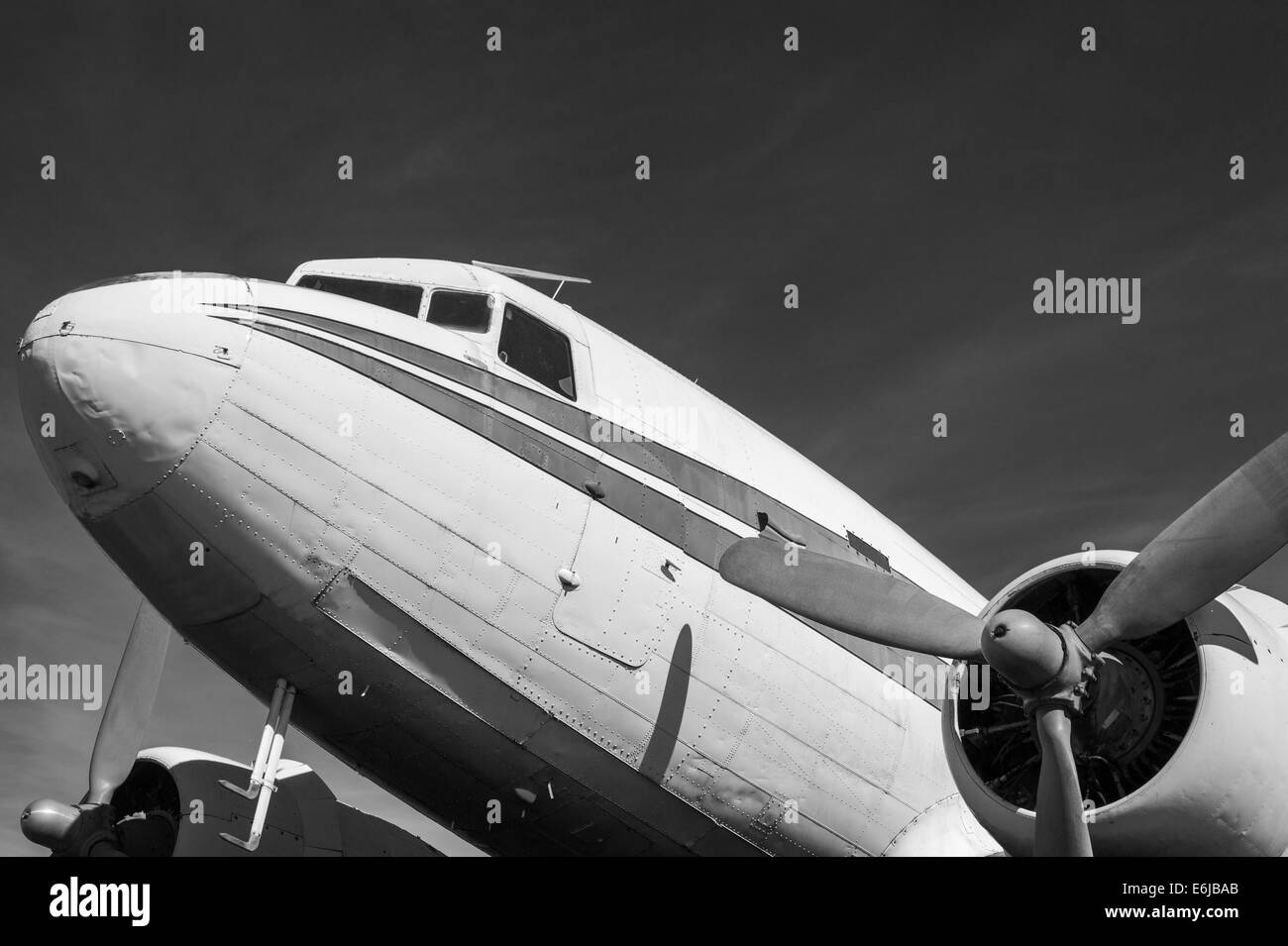 Classic old airliner in black and white - Stock Image