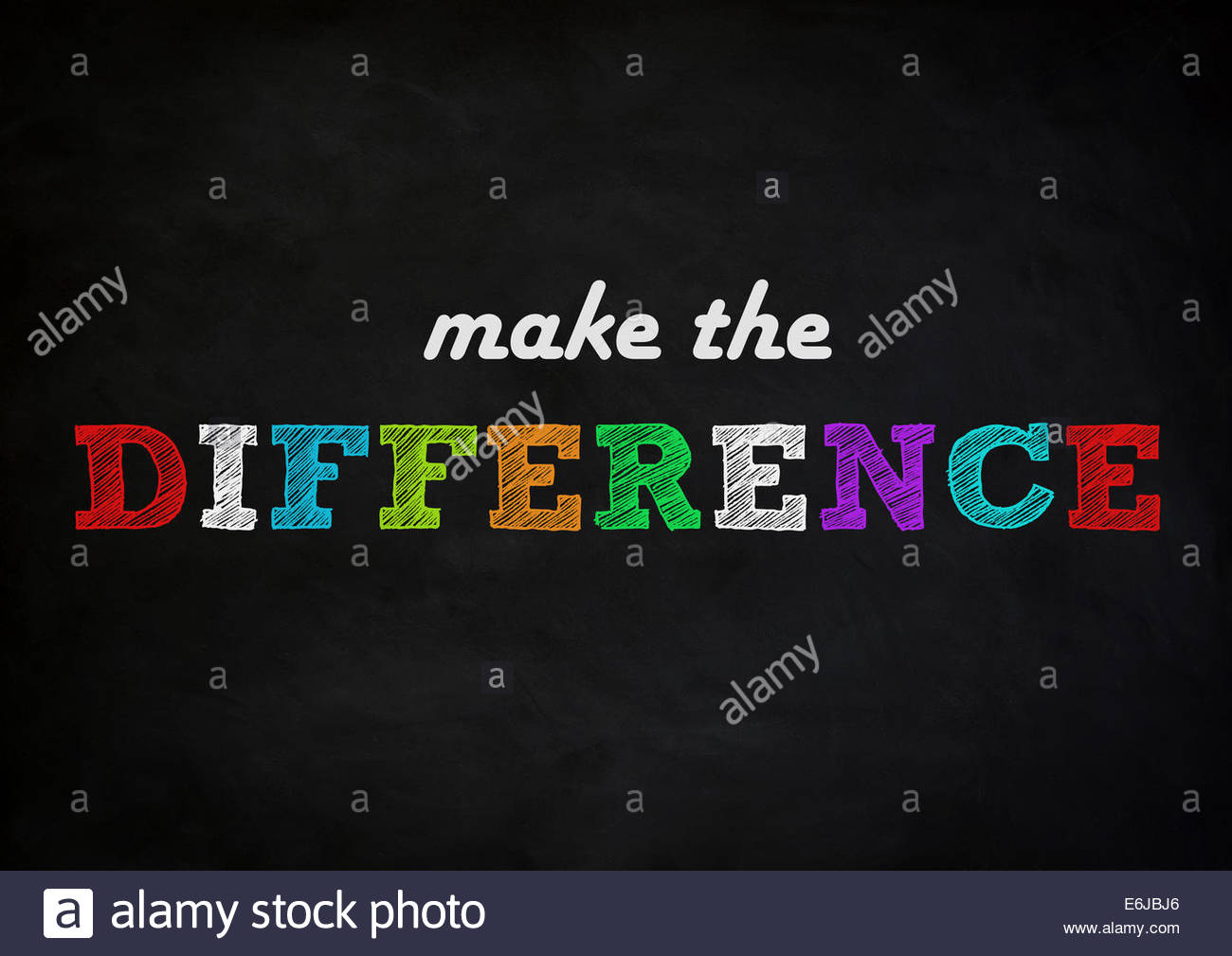 make the difference - chalkboard concept - Stock Image