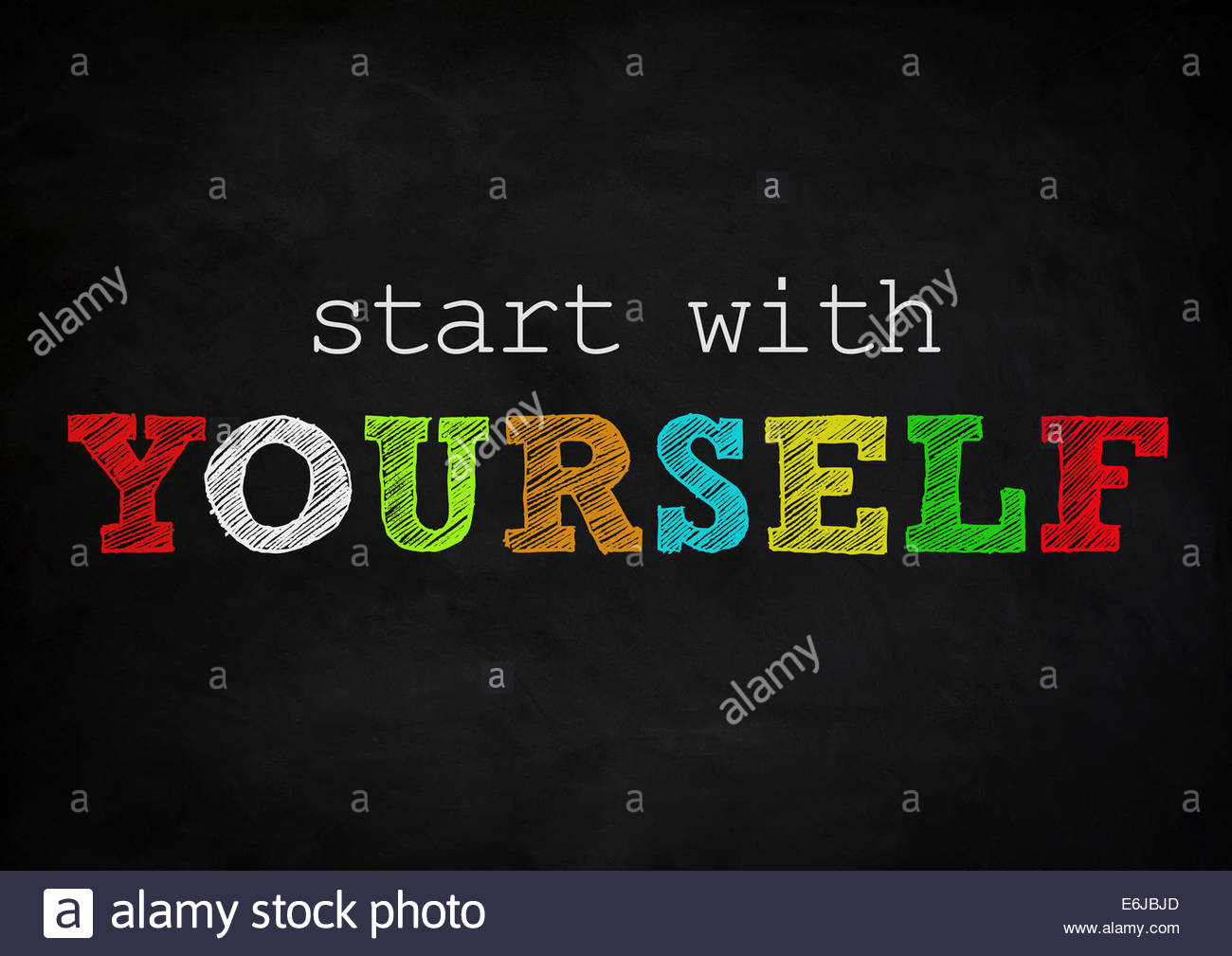 start with yourself - chalkboard concept - Stock Image