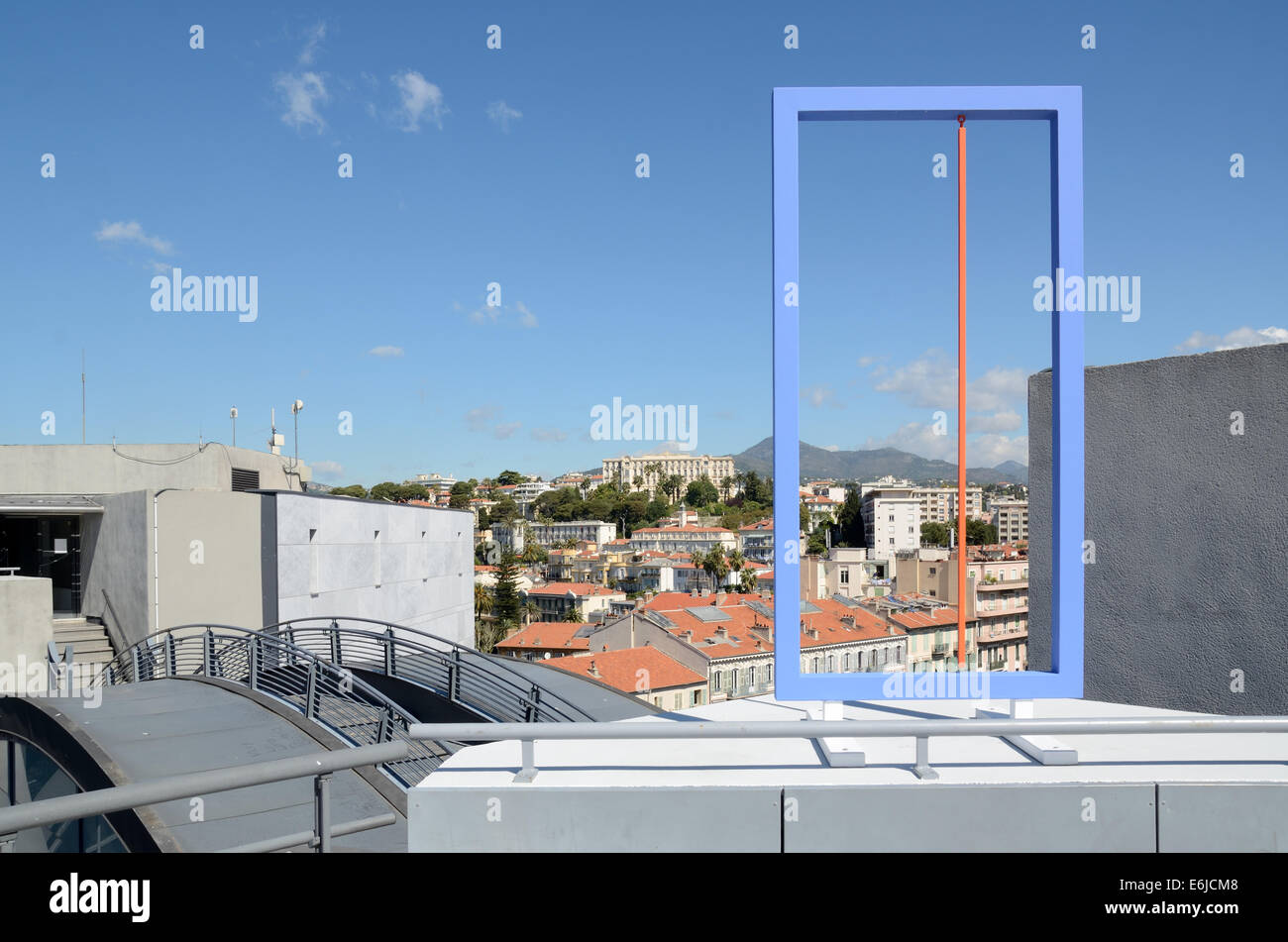 Panoramic View or Townscape of Cimiez from Roof Terrace of Modern Art Museum MAMAC. Metal Installation by Albert - Stock Image