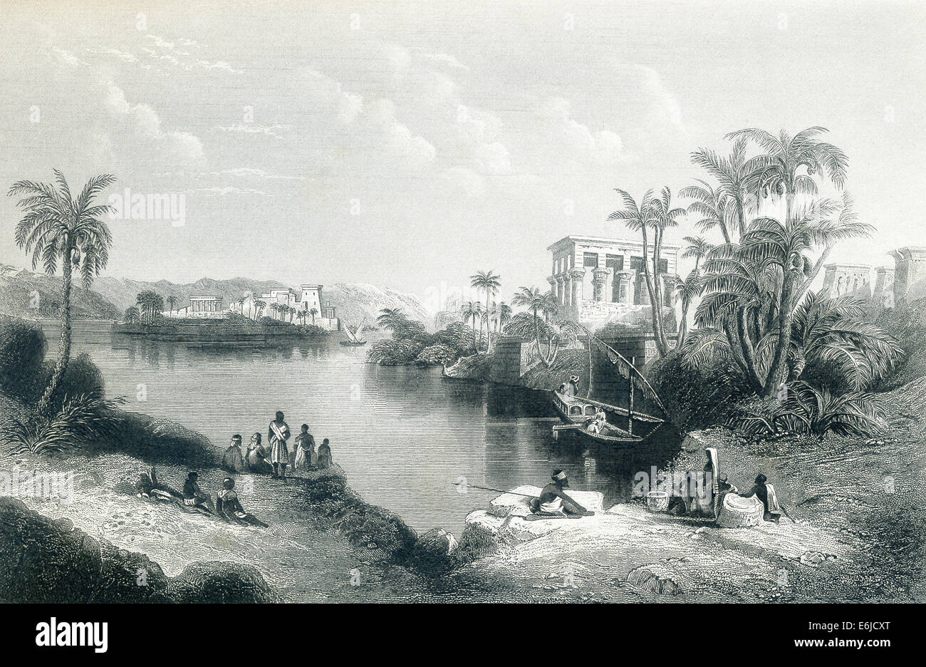 The islands of Philae were credited in ancient times as burial place of Osiris. There was the Temple of Isis, wife - Stock Image
