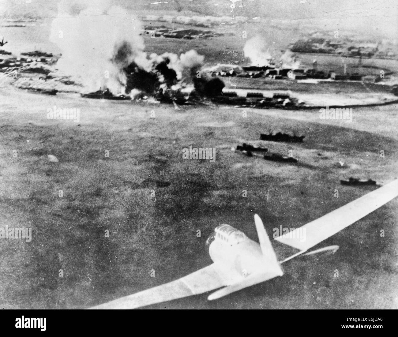Aerial photograph, taken by a Japanese pilot, of the destruction of Pearl Harbor, December 7 1941 Stock Photo