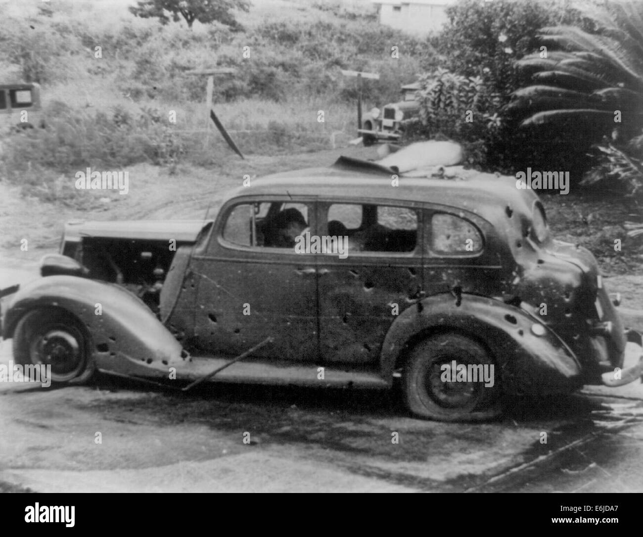 Car with dead driver at wheel - Pearl Harbor attack - December 7, 1941 Stock Photo